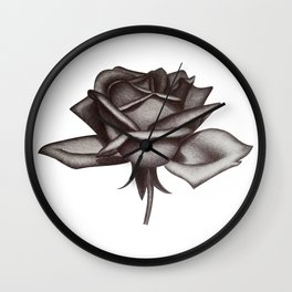 Black and White Rose in Ink Wall Clock