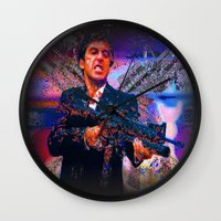 scarface Wall Clocks featuring scarface by Vector Art