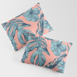 Island Life Teal on Coral Pink Pillow Sham