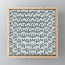 Modern Peach Blue Geometric Abstract Pattern Framed Mini Art Print
