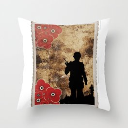 Soldier Silhouette Throw Pillow
