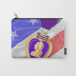 Silk Flag and Purple Heart Carry-All Pouch