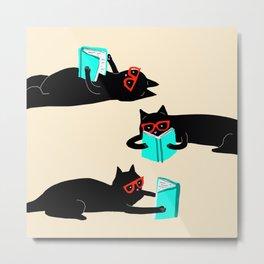 Book bag black cat reads stories Metal Print