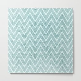 Faux Suede Pale Turquoise Chevron Pattern Metal Print