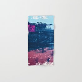 Early Bird [2]: A vibrant minimal abstract piece in blues and pink by Alyssa Hamilton Art Hand & Bath Towel