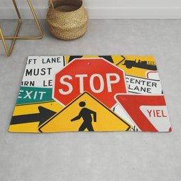 Road Traffic Sign Collage Rug