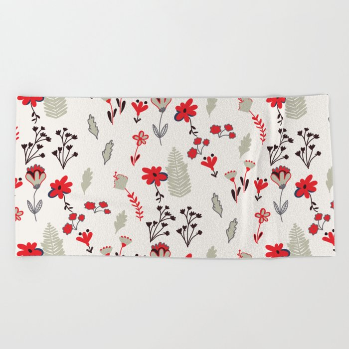 Red Vintage Floral Pattern Beach Towel