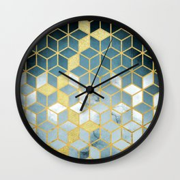 Shades Of Turquoise Green Cubes Pattern Wall Clock