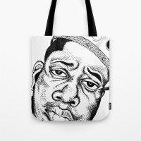 biggie smalls Tote Bags featuring Biggie Smalls Stippling by Tom Brodie-Browne