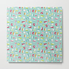 Multicolour Campers on aqua Metal Print