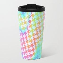 90s Rainbow Houndstooth Pattern Travel Mug