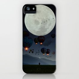 Human facing the moon and balloons by GEN Z iPhone Case