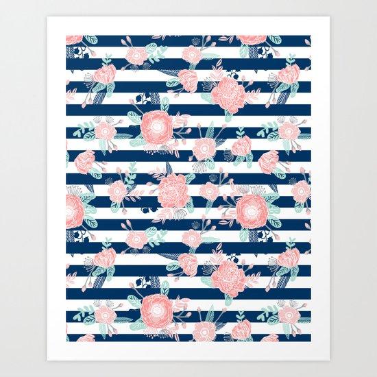 Florals bouquet navy stripe modern classic pattern print nautical preppy chic kids children college  Art Print