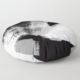 modern painterly brush strokes texture in bw Floor Pillow