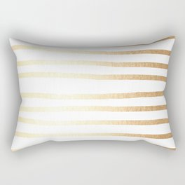 Simply Drawn Stripes Golden Copper Sun Rectangular Pillow