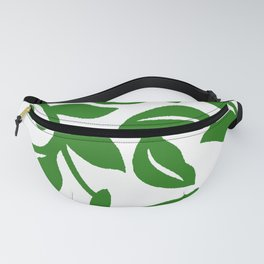 PALM LEAF VINE SWIRL IN GREEN AND WHITE Fanny Pack