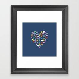 Distressed Hearts Heart Navy Framed Art Print