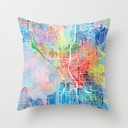 seattle map watercolor Throw Pillow