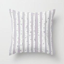 Silvery Grey Birch Throw Pillow