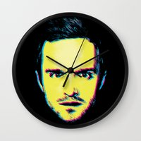 "jesse pinkman Wall Clocks featuring Breaking Bad ""Jesse Pinkman"" by Steal This Art"