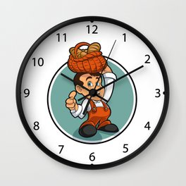 Happy little baker cartoon character Wall Clock