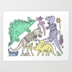 dinosaur friends Art Print