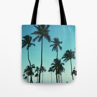 palm trees Tote Bags featuring Palm Trees by Whitney Retter