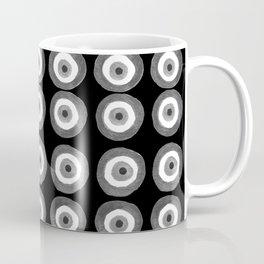 Evil Eye Amulet Talisman Black White Gray on black Coffee Mug