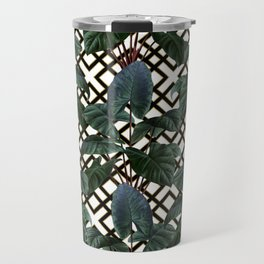 Palm on Woven Lattice Pattern - White Black Gold Travel Mug