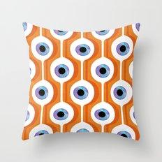 Eye Pod Orange Throw Pillow