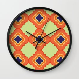 Orange quatrefoil Wall Clock