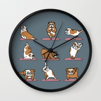 english bulldog Wall Clocks featuring English Bulldog Yoga by Huebucket