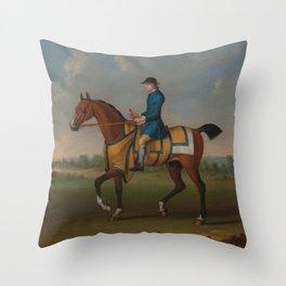 James Seymour - A Bay Racehorse with Jockey Up Throw Pillow