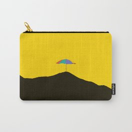 Colorful Umbrella On A Black Mountain In A Yellow Background - #society6 #buyart Carry-All Pouch