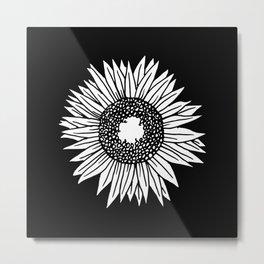 Black and White Sunflower Art Metal Print