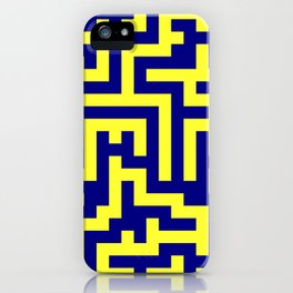 Electric Yellow and Navy Blue Labyrinth iPhone Case