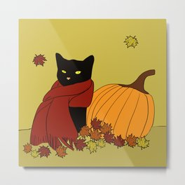 Cascade The Black Cat Welcomes Fall Metal Print