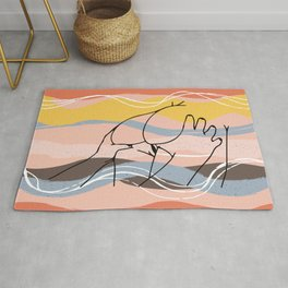 The Waves Of Sex, Erotic Lovers Art, Minimalist Sex Illustration, Modern Sex Pose Line Drawing Rug