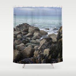 Waves Crashing on Seaweed Covered Rocks Shower Curtain