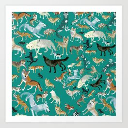 Wolves of the World Green pattern Art Print