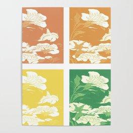 Japanese Birds & Flowers Panel Art earth tones 3 Poster