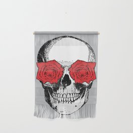 Skull and Roses   Grey and Red Wall Hanging