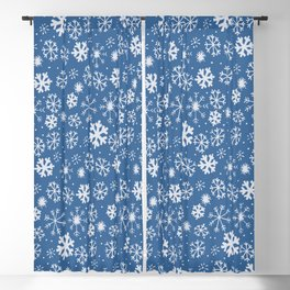 Snowflake Snowstorm With Sky Blue Background Blackout Curtain