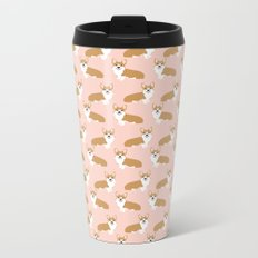 Corgi pastel blush pink cute welsh corgi dog portrait pattern corgi lovers must have dog gifts  Metal Travel Mug