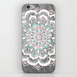 Pastel Floral Medallion on Faded Silver Wood iPhone Skin