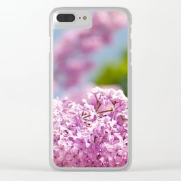Lilac vibrant pink flowers shrub Clear iPhone Case