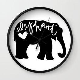 Elephant Love - Silhouette Wall Clock
