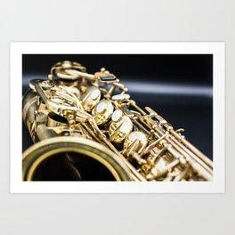 Alto saxophone black background Art Print