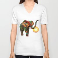 hand V-neck T-shirts featuring Elephant's Dream by Waelad Akadan