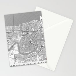 New Orleans Map Line Stationery Cards